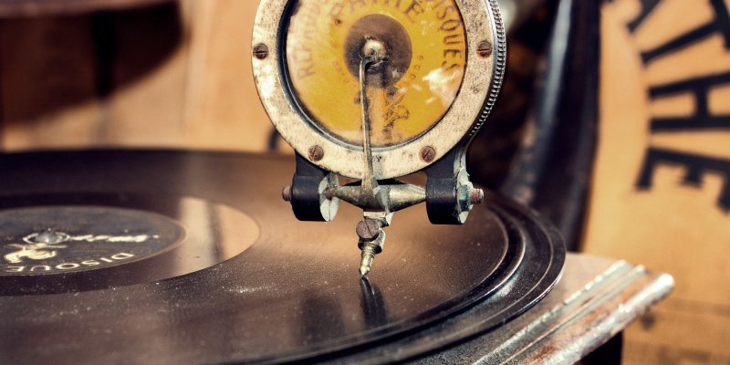 Gramophone playing a record
